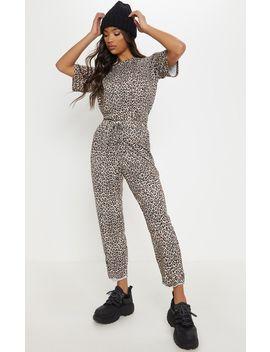 Black Leopard Print Tie Detail Trouser by Prettylittlething