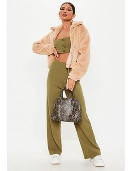 Green Ribbed Co Ord Trousers by Missguided