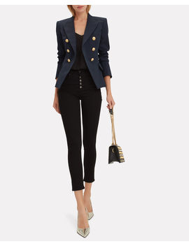 Classic Double Breasted Navy Blazer by Balmain