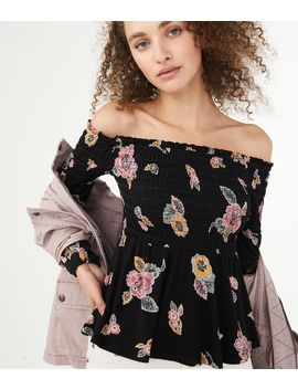 Long Sleeve Floral Smocked Off The Shoulder Top by Aeropostale