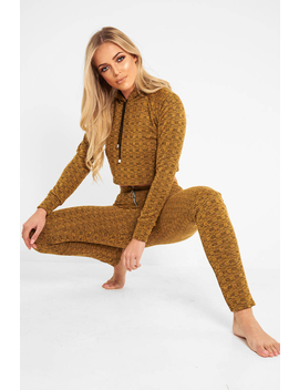 Mustard Marl Hooded Loungewear Set   Olevia by Rebellious Fashion
