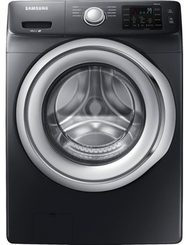 4.5 Cu. Ft. 8 Cycle Front Loading Washer   Fingerprint Resistant Black Stainless Steel by Samsung