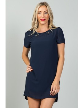 Ladies Fashion Navy Sheer Overlay Mini Dress by 599 Fashion
