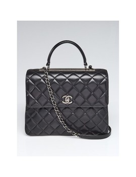 Black Quilted Lambskin Leather Large Trendy Cc Flap Bag by Chanel