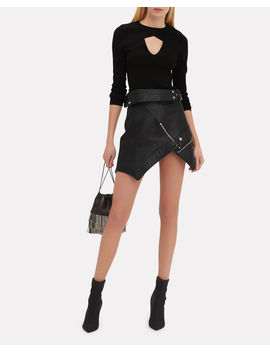 Deconstructed Moto Mini Skirt by Alexander Wang