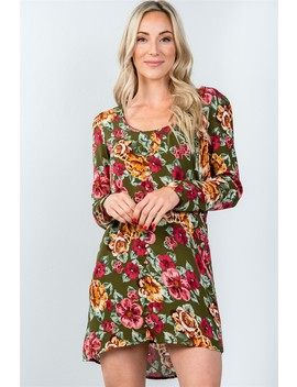 Ladies Fashion Long Sleeve Scoop Neck Allover Floral Mini Dress by 599 Fashion