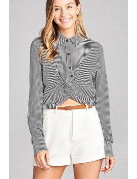 Ladies Fashion Long Sleeve Front Knot W/Button Stripe Rayon Challis Woven Top by 599 Fashion