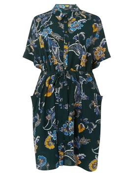 **Dp Curve Green Paisley Print Shirt Dress by Dorothy Perkins