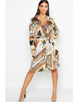Chain Print Belted Woven Shirt Dress by Boohoo