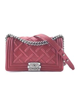 Boy #24467 Rare Celtic Embossed Quilted Old Medium Cc Cross Body Red Calfskin Leather Shoulder Bag by Chanel