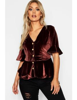 Plus Button Down Velvet Smock Top by Boohoo