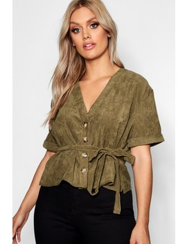 Plus Button Down Belted Cord Top by Boohoo