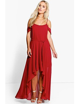 Plus Chiffon Frill Open Shoulder Dress by Boohoo