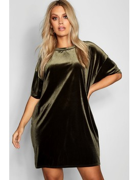 Plus Velour T Shirt Dress by Boohoo