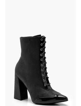 Block Heel Hiker Boots by Boohoo