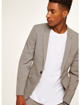 Stone Check Ultra Skinny Suit Jacket by Topman