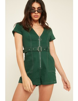 L&T Contrast Zip Playsuit Green by Universal Store