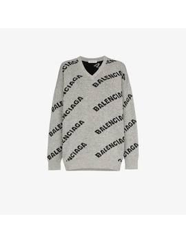 Logo Intarsia Virgin Wool Blend Knitted Sweater by Balenciaga