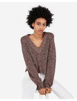 Marled Abbreviated Boxy V Neck Pullover Sweater by Express