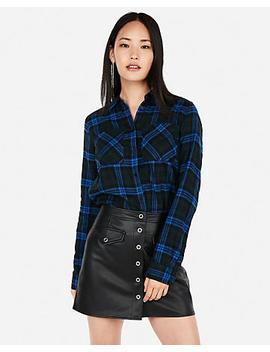 Blue Plaid Flannel Two Pocket Boyfriend Shirt by Express