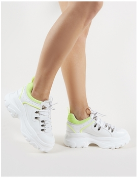Funk Chunky Trainers In White And Neon Yellow by Public Desire