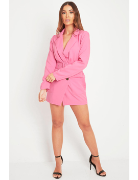 Pink Button Front Belted Blazer Dress   Justyne by Rebellious Fashion