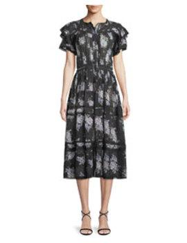 Claribel Floral Silk Lace Midi Dress by Loveshackfancy