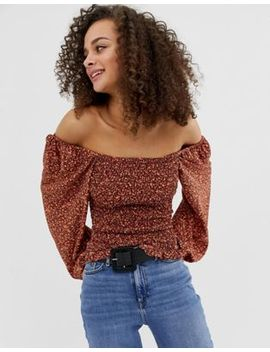 asos-design-shirred-crop-top-with-long-sleeve-in-ditsy by asos-design