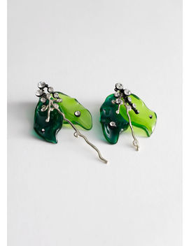 Mismatched Rhinestone Lily Pad Earrings by & Other Stories