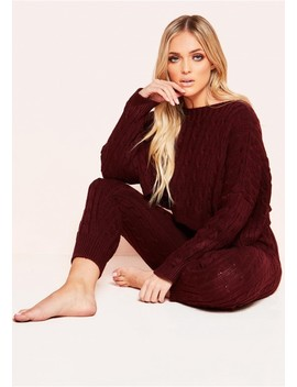 Rene Wine Cable Knit Cropped Loungewear Set by Missy Empire