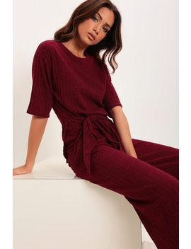 Wine Knot Front Loungewear Set by I Saw It First