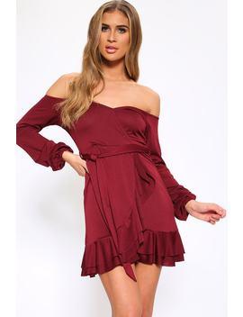 Wine Bardot Long Sleeve Mini Dress With Frill Hem by I Saw It First