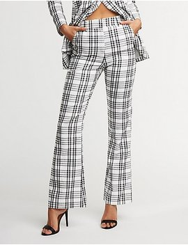 Plaid Flare Trousers by Charlotte Russe