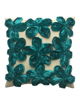 Avery Natural And Teal Floral Ribbon Pillow 18 In. by At Home