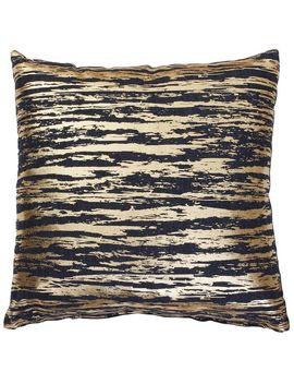 Navy & Gold Striped Shimmer Pillow 17x17 In. by At Home