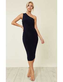 Navy Flo One Shoulder Midi Dress by Pleat Boutique