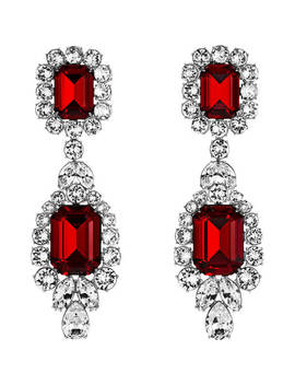 Anna Dello Russo Pierced Earrings, Red, Palladium Plating by Swarovski