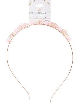 Semi Precious Gold Headband With Rose Quartz Stones by Riviera