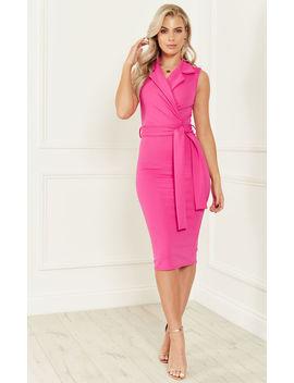 Pink Lapel Collar Dress by Lilah Rose