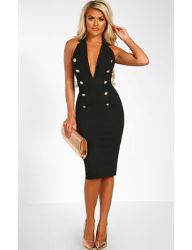 Vip Hustle Black Halterneck Plunge Blazer Midi Dress by Pink Boutique