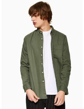 Khaki Twill Slim Shirt by Topman