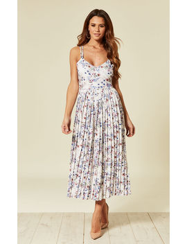 Floral Strappy Pleated Midi Dress by Unique21