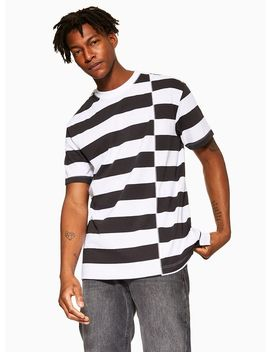 White And Black Spliced Stripe T Shirt by Topman