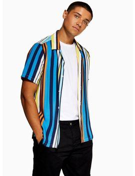 Blue Multi Stripe Revere Shirt by Topman