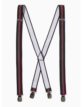 Burgundy And Navy Stripe Braces by Topman