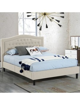 Alma Beige Upholstered Platform Bed With Decorative Stitching And Button Panel Headboard Queen Size by Generic