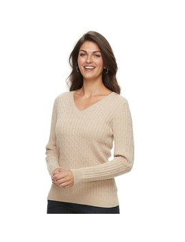 Women's Croft &Amp; Barrow® Classic Cable Knit V Neck Sweater by Croft &Amp; Barrow