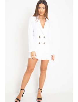 White Button Front Belted Blazer Dress   Justyne by Rebellious Fashion