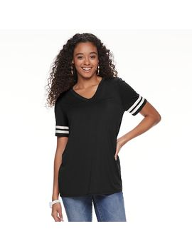 Juniors' Pink Republic Short Sleeve Varsity Tee by Kohl's