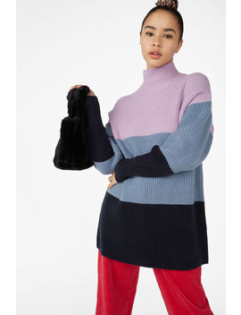 Ribbed Colour Block Sweater by Monki